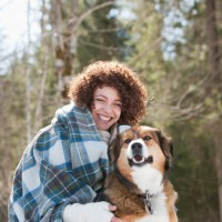 woman happy w dog
